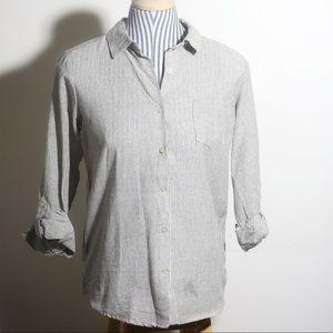 Grey striped August Silk Small linen shirt-NWT